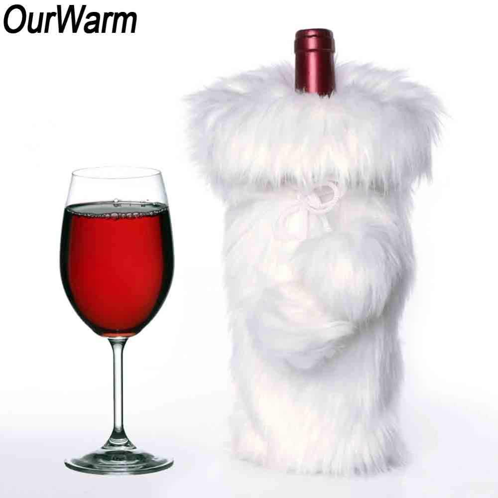 OurWarm White Luxury Faux Fur Christmas Wine Bottle Cover 33x17cm Christmas  Decoration On the Bottle Wine 2bce054112490