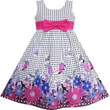 Sunny Fashion Flower Girl Dress Floral Tartan Party Birthday Kids Clothing 2018 Summer Princess Wedding Dresses