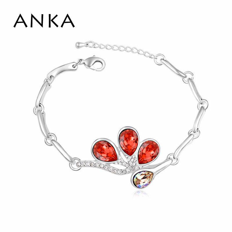 Bracelets & Bangles Sterling Jewelry Loom Band Free Shipping Flower Bracelet Best Gift Crystals from Austria #105723