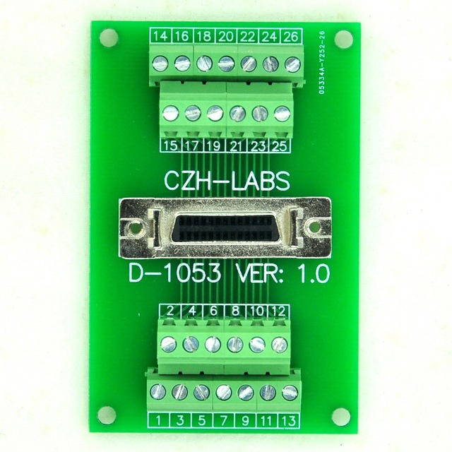 "Medio de Paso de $ number pines/0.05 ""D-SUB Hembra Breakout Junta, DSUB, SCSI, Módulo de Terminales"