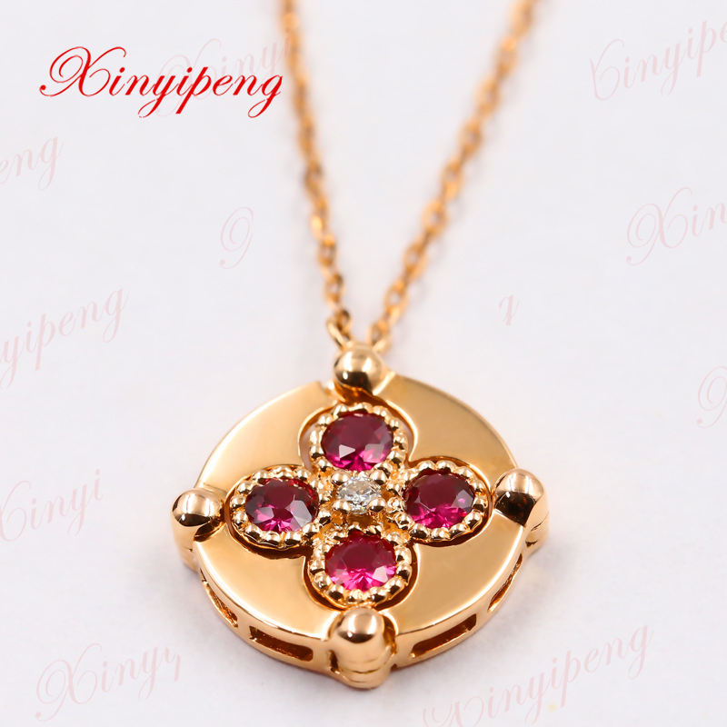 Xinyipeng18K rose gold ruby necklace for women with diamonds a two wear new chain of clavicle