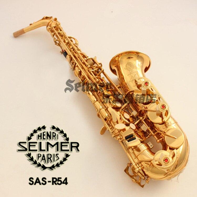 Ventes chaudes Instruments de Musique Saxophone Alto France Henry SELMER R54 Eb d'or Sax accessoires Complets Livraison gratuite Saxofone