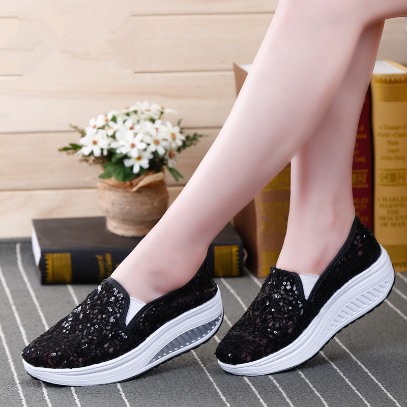 QIYHONG 2018 Summer Women Flat Platform Shoes Woman Comfortable Breathable Sweet Flats Women 39 s Casual Mesh Lace Pattern Shoes in Women 39 s Flats from Shoes