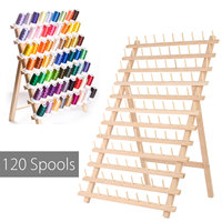 KiWarm 120 Spools Wood Folded Thread Rack Sewing Embroidery Stand Holder Organizer Sewing Tools