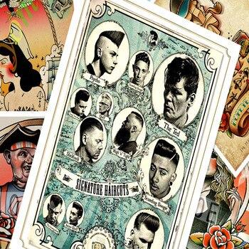 Retro Saç Dövmeler Desenli Kraft Kağıt Poster Duvar çıkartmaları