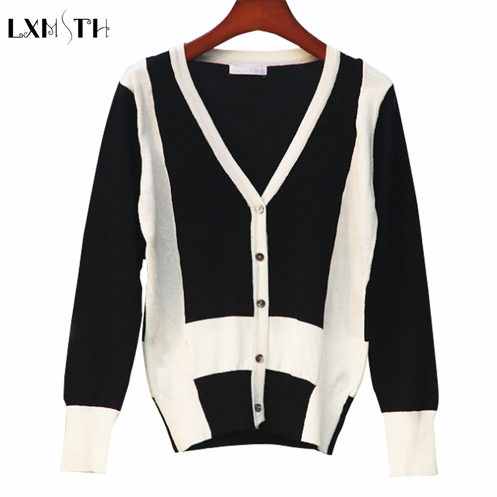 Elegant Knitting Black and White Patchwork Sweater Cardigan Women Casual V Neck 2018 Spring Short Button Cardigans Jacket
