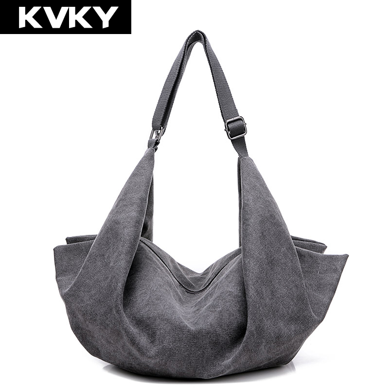 KVKY Vintage Women Canvas Handbag Casual Large Capacity Hobos Bag Hot Sell Female Totes Bolsas Trapeze Ruched Solid Shoulder Bag ...