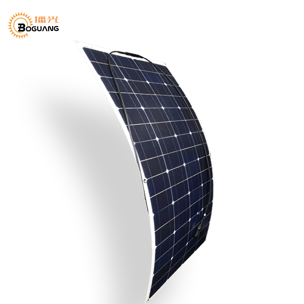 Boguang 16V 100 watt semi-flexible solar panel 12v 100w mono silicon cell module connector for battery power charger