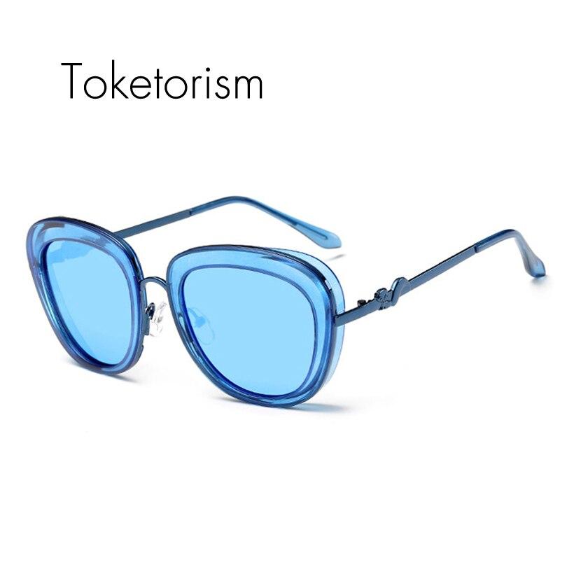 Toketorism Vintage lunettes de soleil femme luxe marque sunglasses font b polarized b font mirror lenses