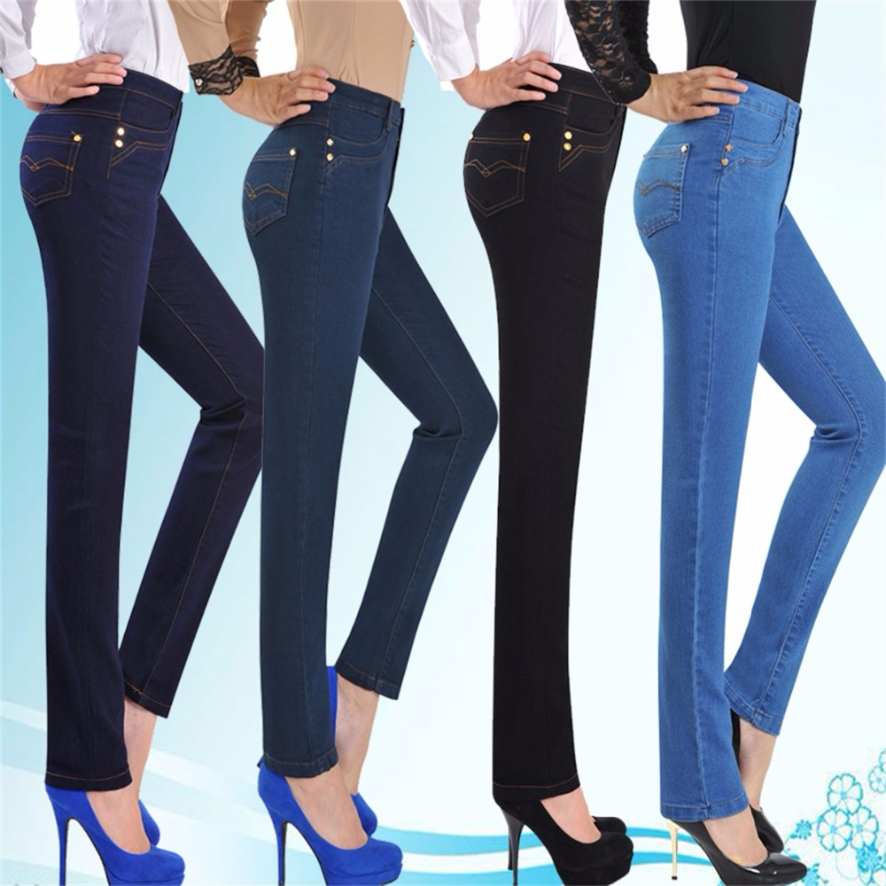 Autumn and winter models in the elderly feet jeans waist large size women 's denim trousers