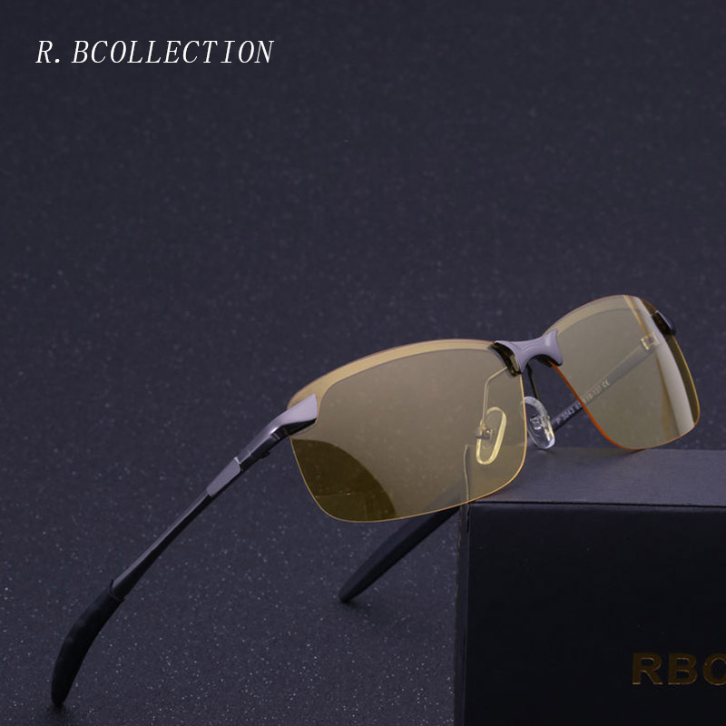 R.BCOLLECTION Men Night Vision Polarized Sunglasses Metal Semi-Rimless Frame High Quality Glasses for Drivers Gafas De Sol3043
