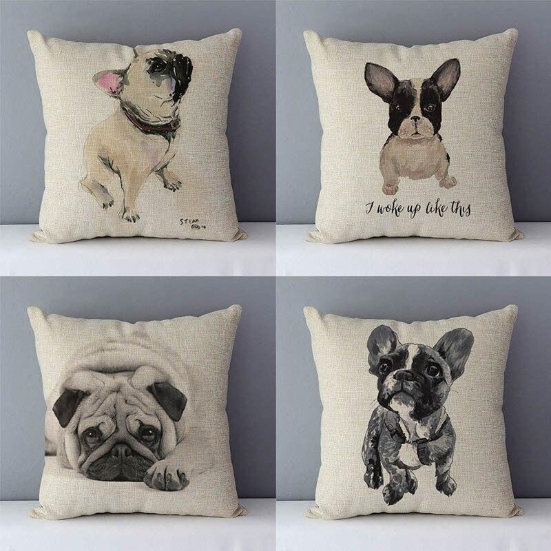 Modern Couch Cushion French Bulldog Printed Simply Style Cute Bull Dog Cushions Home Decorative Pillow 45x45cm Square Pillowcase