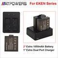 2 Unids Original EKEN Cargador de Batería + Cargador Doble Para EKEN h9 h3 h9r h3r h8pro h8r h8 pro sjcam sj4000 SJ5000