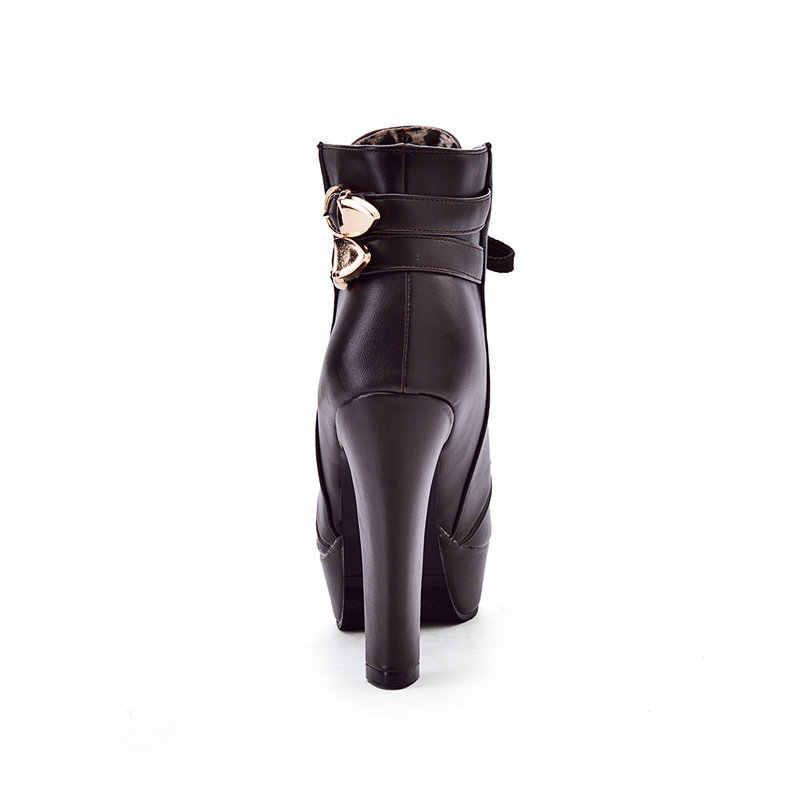 Kadın Moda Dantel Up Tıknaz Yüksek Topuk yarım çizmeler Platformu Bahar Sonbahar Kadın Ayakkabı Siyah Beyaz Kahverengi Sarı