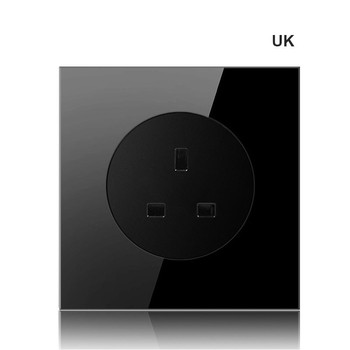 86 type 1 2 3 4 gang 1 2way black mirror glass wall switch panel LED light switch Industry France Germany UK socket with USB 20