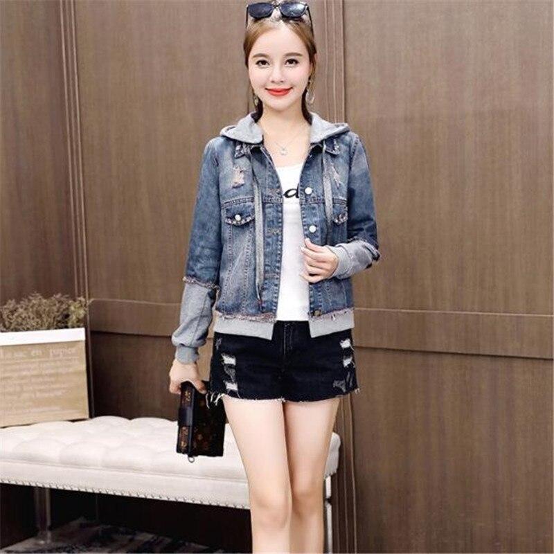 Short Casual Autumn Blue Big Hooded Tops Female New Jacket Fashion Cowboy Denim Women Patchwork Spring Coat 2019 Outerwear Size q5X4qxv