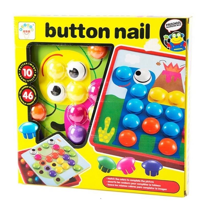 Montessori 10pcs / set Button Nail Puzzle Kids Toys For Children Boys - Teka-teki - Foto 5