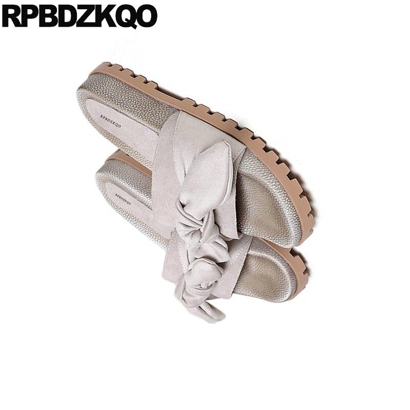 50d6a9ab8760 ... Fit Women Slip 2018 Platform Wide Slides Open Sandals Bow Flat Flatform  Cute Pumps Bowtie Toe