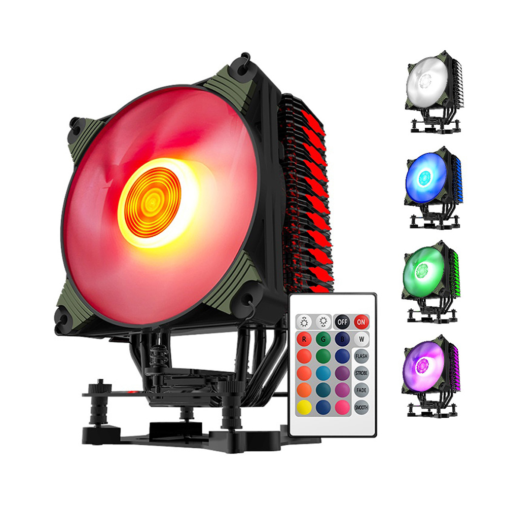 Aigo K4 RGB 4 Heatpipes Silent CPU Cooler Radiator Heat Sink With 120mm LED PWM Fan For INTEL and AMD Full Platforms AM4 Support 5pcs lot intersil isl6314crz isl6314 single phase buck pwm controller with integrated mosfet drivers for intel vr11 and amd applications