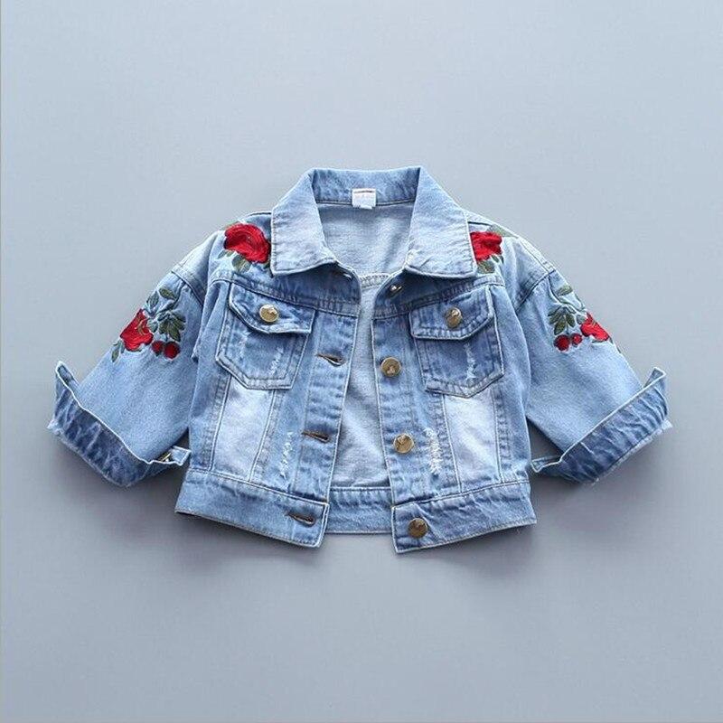 Bērnu meiteņu izšuvumi Ziedu džinsa jakas Mēteļi Bērnu - Bērnu apģērbi