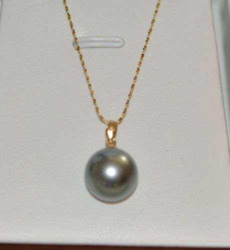 Natural Huge 14MM Genuine Round Pink Sea Shell Pearl Pendant Necklace