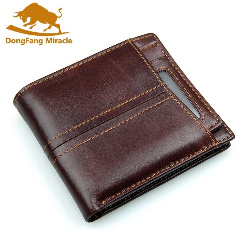 Hot Vintage Genuine Leather men wallets Bifold Wallet ID Card holder Coin Purse Pockets Clutch with Removable card bit Gift
