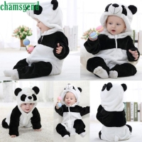 CHAMSGEND White Toddler Newborn Baby Boys Girls Cap Bear Head Full Panda Cartoon Hooded Rompers Outfits