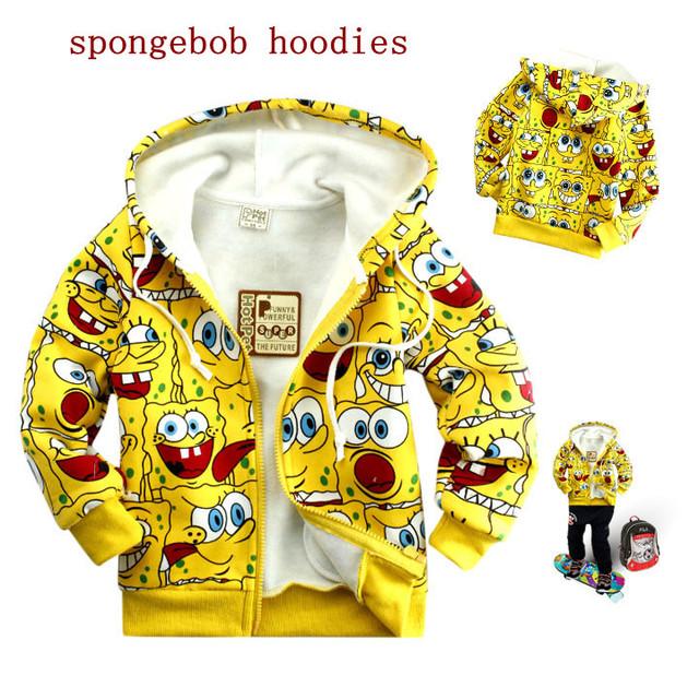 6 unids/lote al por mayor niños sudaderas niños niñas sudadera polar de dibujos animados Bob Esponja amarillo niños caliente de la cremallera prendas de vestir exteriores chaquetas
