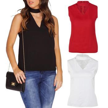 T-shirts for women choker top Cotton blended girl Sleeveless High Neck blusas Women T-shirt blusas female Crop Tops girl shirts Top