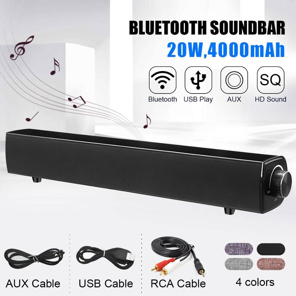 20W Hifi bluetooth Speaker Soundbar 4000mAh Wireless Bass Stereo Family Sound Bar Subwoofer with Mic USB