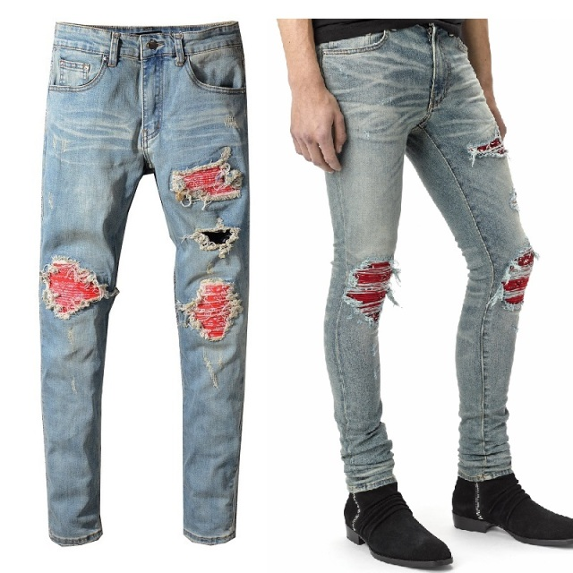 New Italy Style #552# Men's Distressed Destroyed Pants Red Ripped Patches Blue Skinny Biker Jeans Slim Trousers Size 29-40