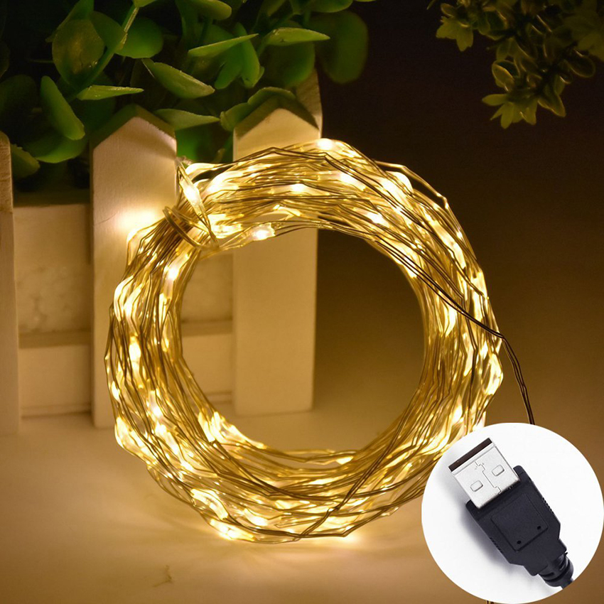 5M 10M USB LED String Light Waterproof Copper Wire Outdoor Holiday LED Fairy Lights For Christmas Party Wedding Decoration
