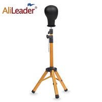 Alileader Canvas Block Head Tripod Stand Training Head Stand Mannequin Manikin Head Tripod Wig Stand With Travel Bag Gold Color