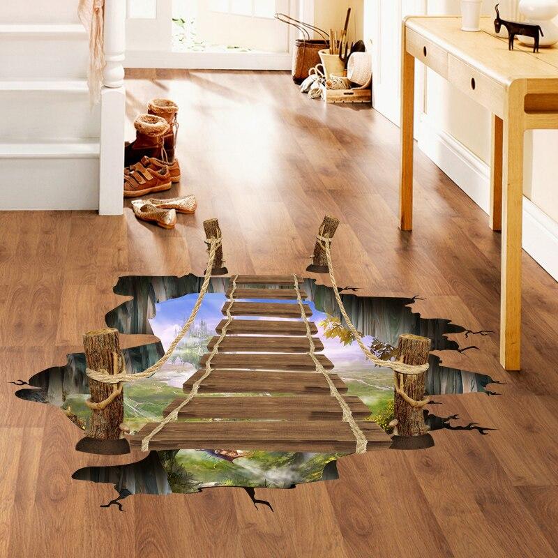 3D Drawbridge Simulation Floor/wall Stickers For Kids Rooms Decals Home Decor Landscape False Windows Wall Sticker Decoration