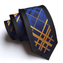 6cm Unique Skinny Tie Designer Panel Necktie Black Border with Blue Orange Yellow Stripes Plaids