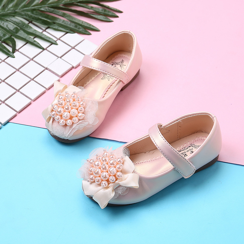 Kids Shoes 2019 Child Leather Shoes Baby Girls Shoes With Rhinestone Beads Autumn Dance Wedding Party Princess Shoes For Girls