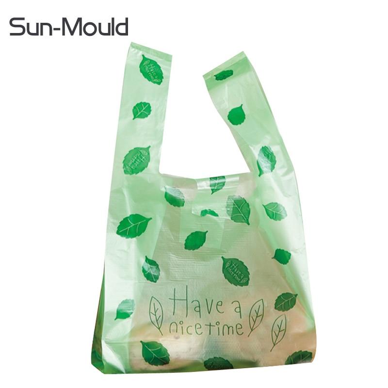S M L Plastic Shopping Bag The Supermarket Bag  Retail Store Plastic Gift Bags Green Bags 1000pcs/lot DHL EMS Free  Shipping