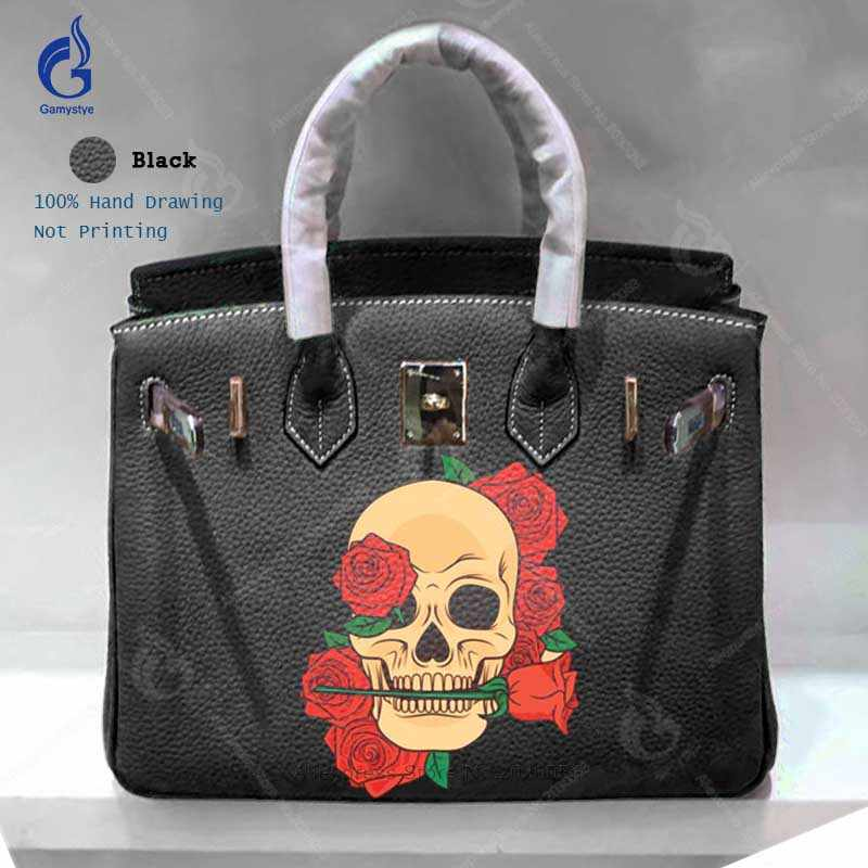 Detail Feedback Questions about Crossbody Bags for Women Handbags Classic  Genuine Togo Leather Shoulder Bag Hand Painted Art Skull Rose sac a main  Classic ... 48a42e5195971