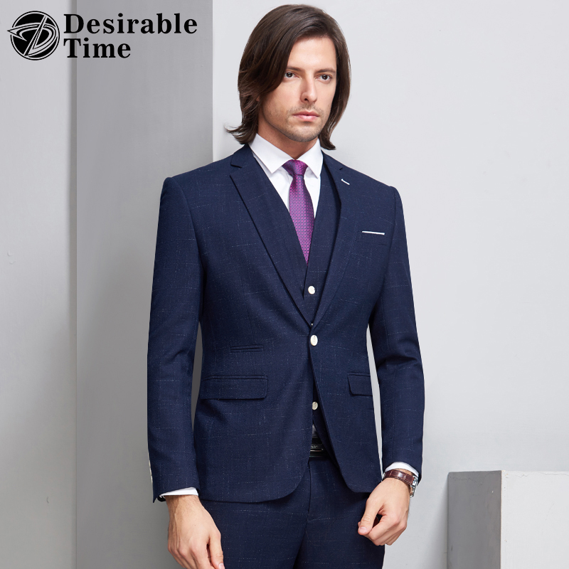 6c786bdf Desirable Time Mens Dark Blue Pinstripe Suit Slim Fit 3 Piece Wedding Groom  Striped Suits for Men Tuxedo Jacket+Vest+Pants DT242