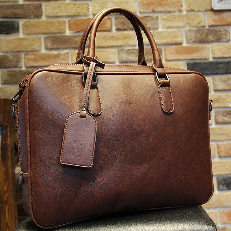 Famous Brand Crazy Horse PU Leather Men Briefcase Men Messenger Bag Office Laptop Bag Men Business