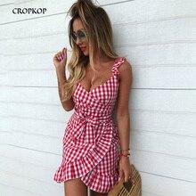 Irregular Women Casual Plaid Dress Vintage Ruffle Backless Wrap Sexy Dress Sleeveless V Neck Tie Waist Mini Summer Vestidos 2019