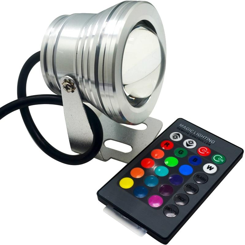 10W RGB AC til DC 12V-24V LED Undervands projektør Hvid / varm Hvid Belysning Svømmebassin Spotlight Fish Tank Pond LED Lampe