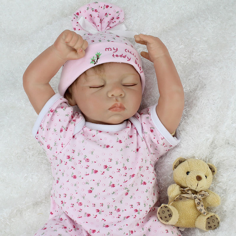 ФОТО Simulation 55cm Cute Silicone Reborn Doll Toys 22inch Cotton Body BeBe Reborn Lifelike Newborn Juguetes Babies Toys Brinquedos