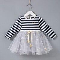 2018 новый для маленьких девочек модное платье в полоску платья принцессы для девочек детская одежда Длинные рукава звезд оптовая продажа ...