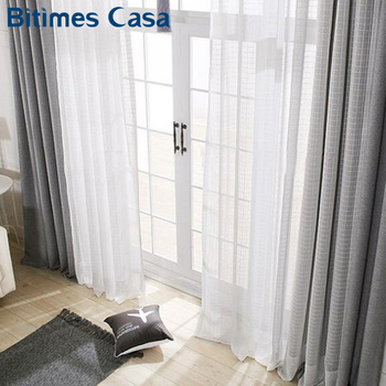 White Color Plaid Linen Windows Screening Voile Tulle Curtain For Living Room Bedroom Home Decoration
