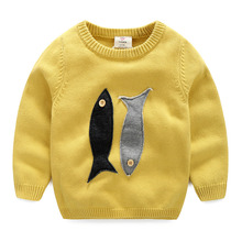 Kids Fish Sweater 2016 Fall Winter Kroean New Baby Boys And Girls Casual Sweater Pullover Solid Children's Clothing