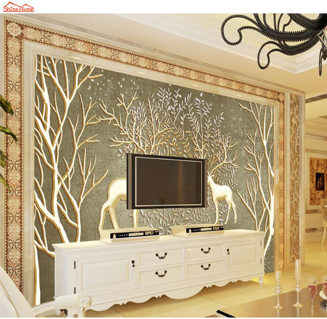 ShineHome Large Custom Forest Tree Deer 3d Modern Kids Room Photo