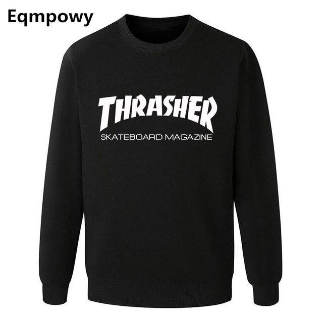 Eqmpowy Thrasher sweatshirt Men hoodies Letter print trasher sweatshirt HIPHOP pullover hip hop hoodie long sleeve clothing