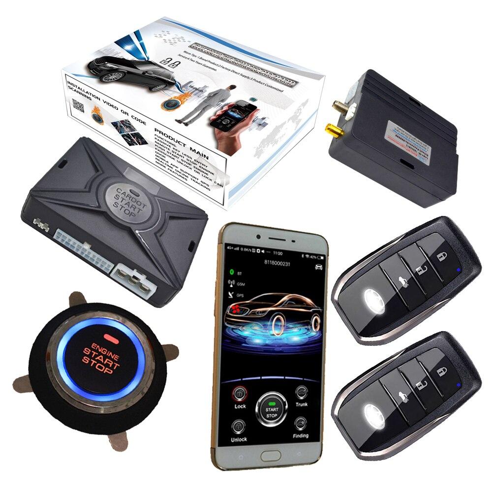 Alarme de voiture à commande vocale anglaise avec capteur de proximité entrée de clé intelligente contrôle d'application de téléphone intelligent et suivi gps en ligne en temps réel