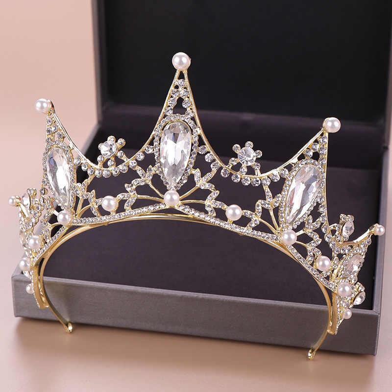 Baroque Ngọc Trai Pha Lê Tiara Headband Ánh Sáng Vàng Cô Dâu Vương Miện Tóc Đồ Trang Trí Nhân Vật Chính Cô Dâu Vương Miện Với Ngọc Trai Mũ